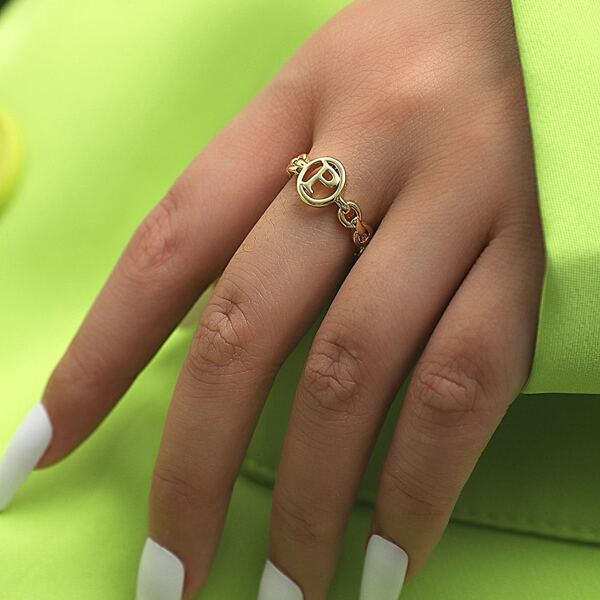 Letter Detail Cuff Ring, Gold