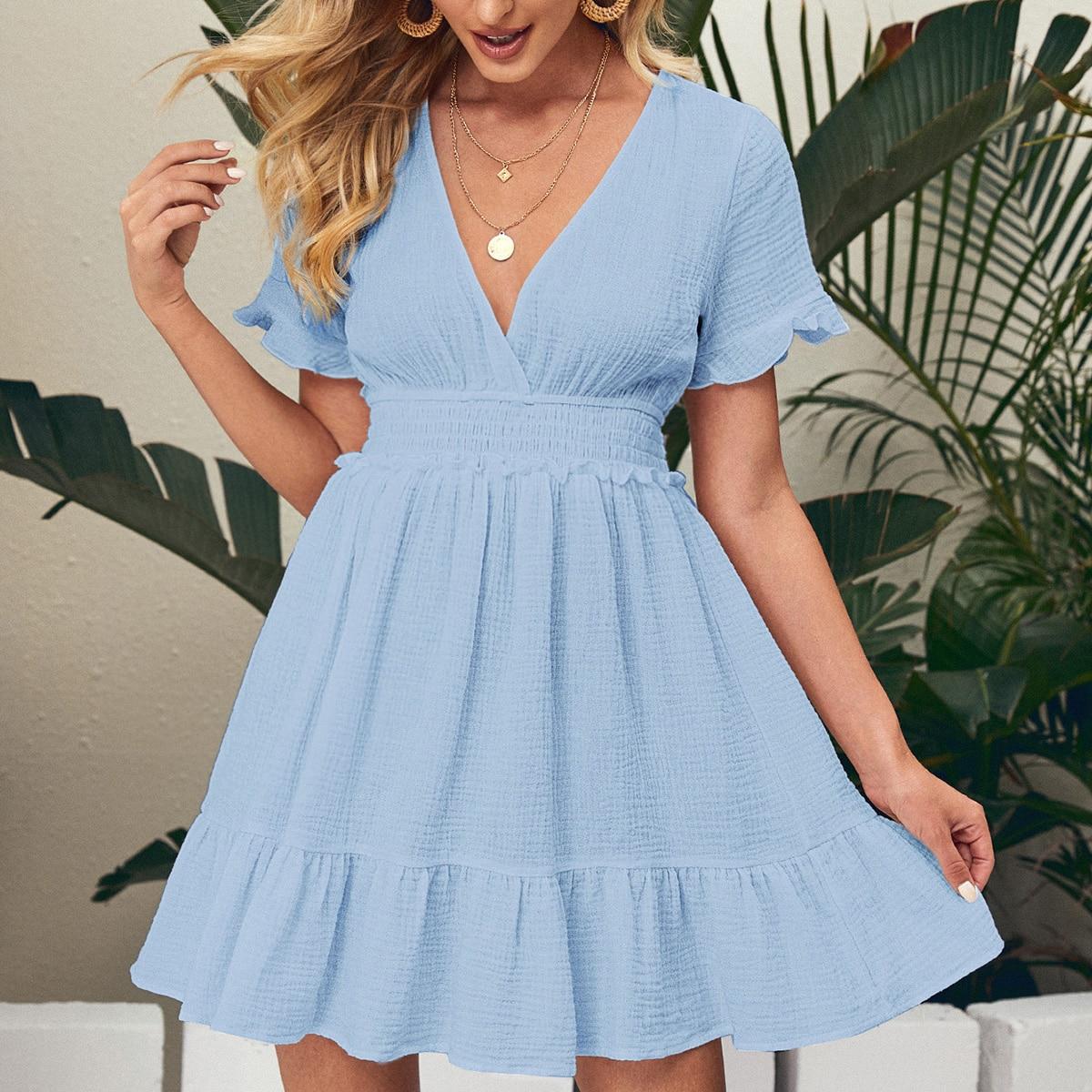 Платье с воланами на рукавах SheIn swdress07210401535