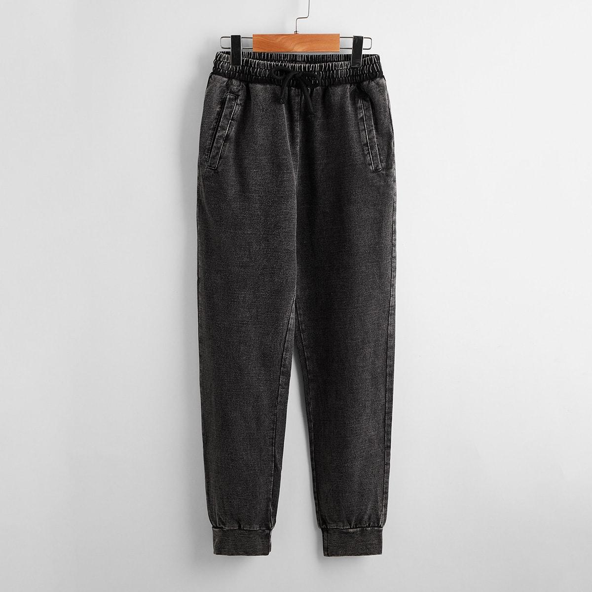 Boys Drawstring Waist Pocket Detail Solid Pants