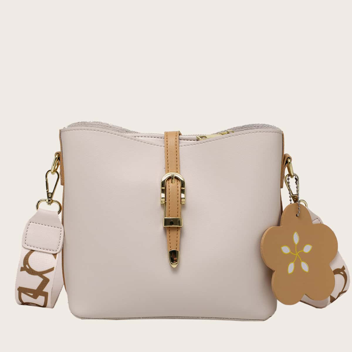 Flower Charm Bucket Bag, SHEIN  - buy with discount