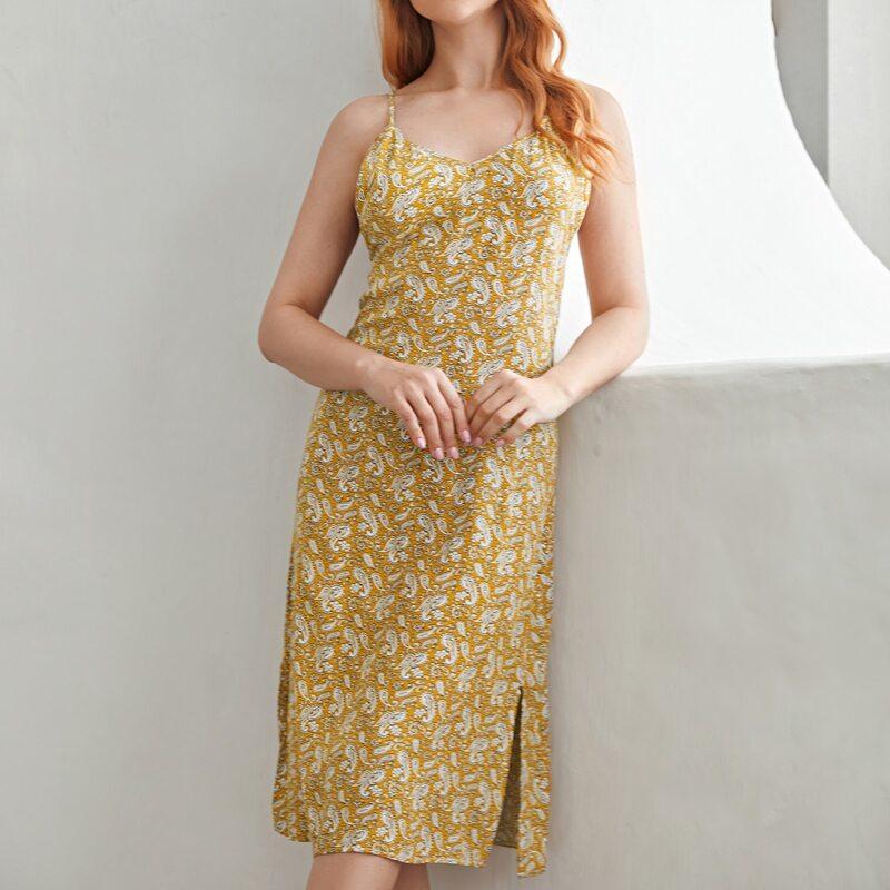 Paisley Print Split Hem Cami Nightdress, Mustard yellow