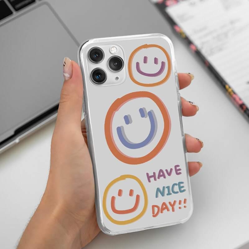 Smile Clear Phone Case, Multicolor