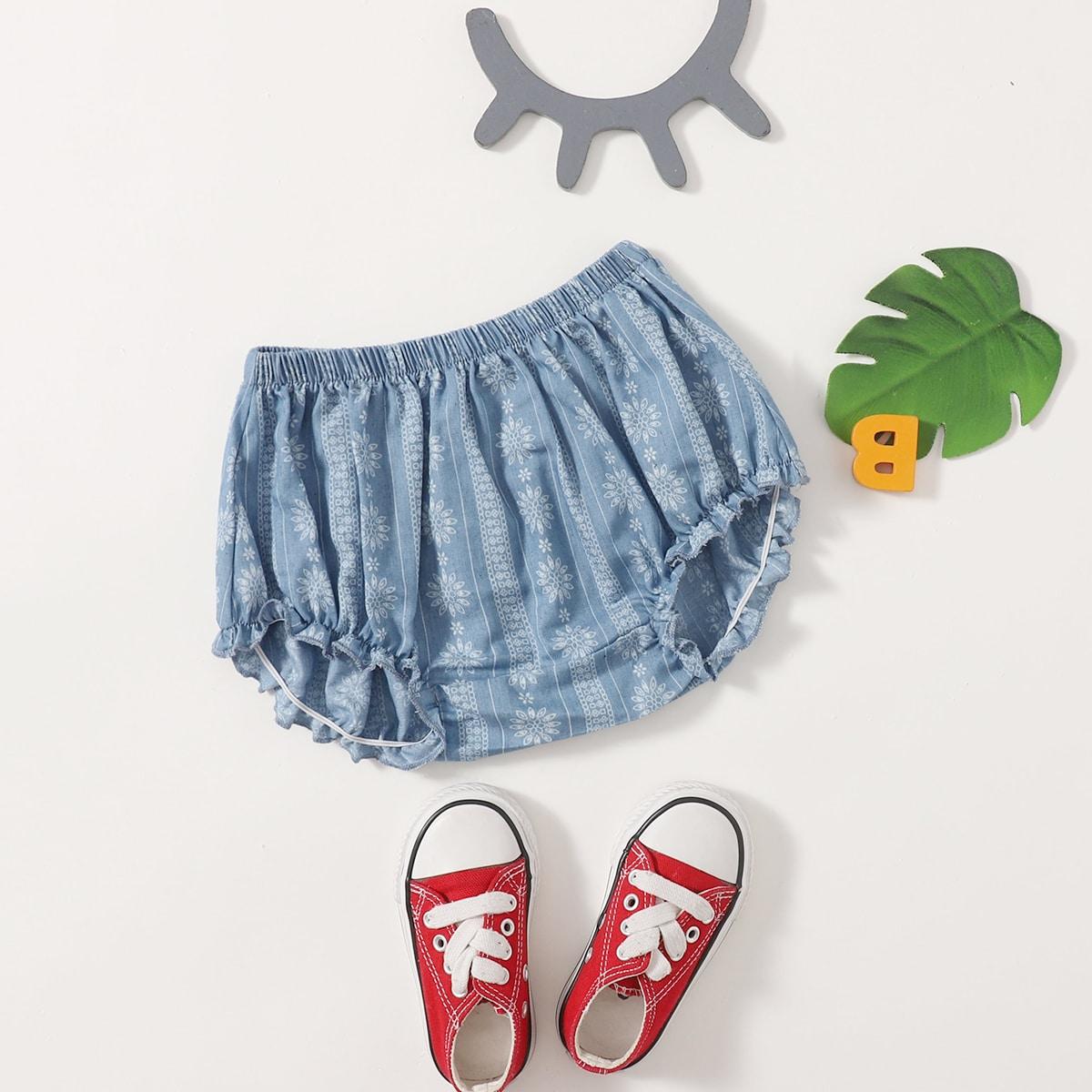 для девочек Джинсовые шорты с цветочным принтом от SHEIN