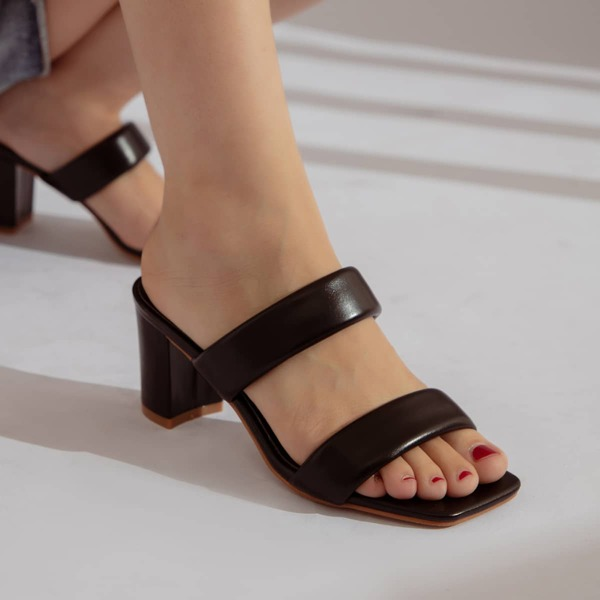 Double Strap Chunky Heeled Mule Sandals, Black