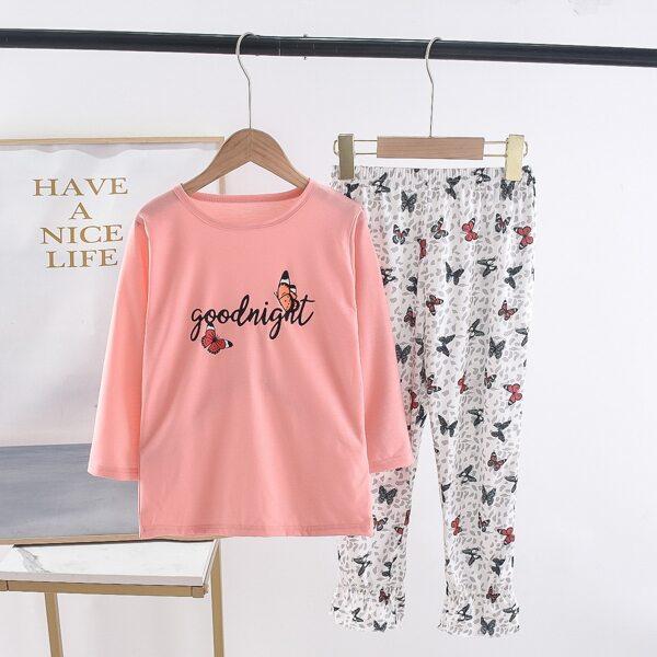 Girls Butterfly & Slogan Graphic Tee & Ruffle Hem Pants, Multicolor