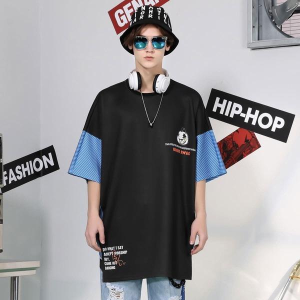 Мужская асимметричная футболка с текстовым и мультипликационным принтом, Чёрный