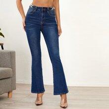 High Waist Chain Detail Flare Leg Jeans