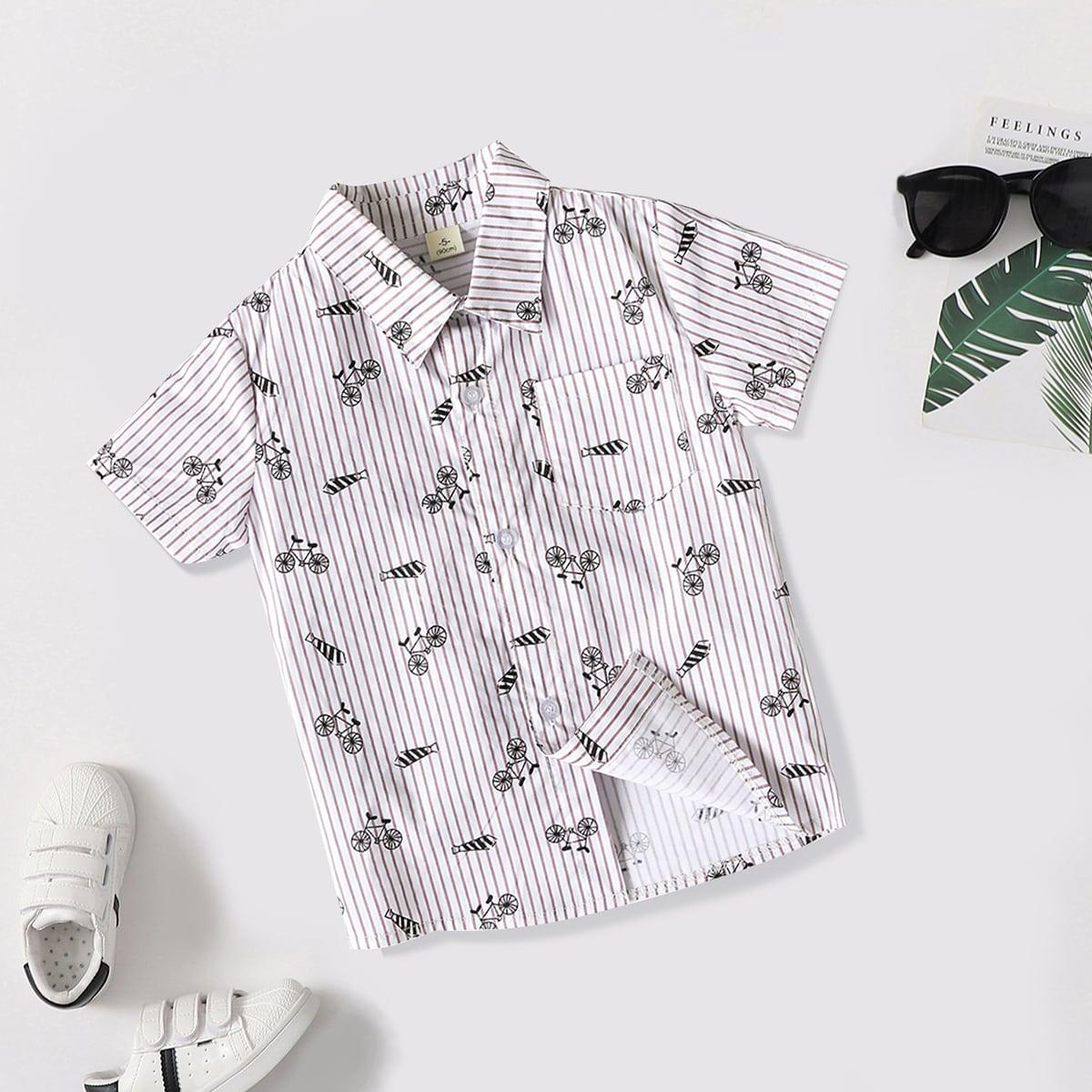 Рубашка в полоску с мультипликационным рисунком для мальчиков