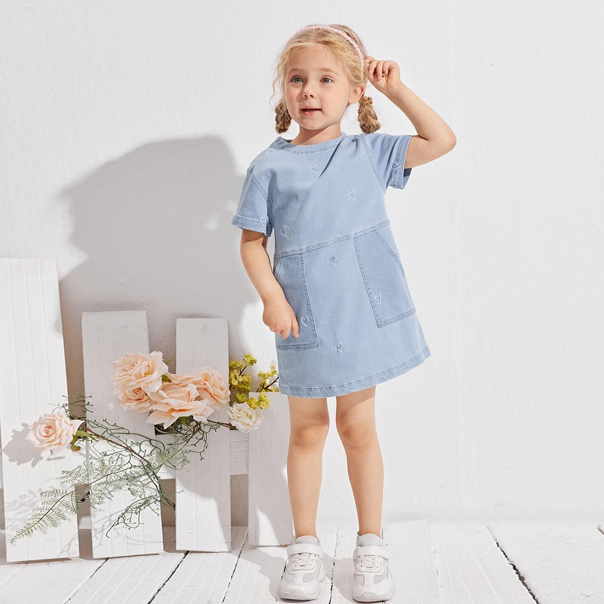 на пуговицах с вышивкой с карманами Сердечко Повседневный Джинсовые платья для девочек SheIn skdress25210415863