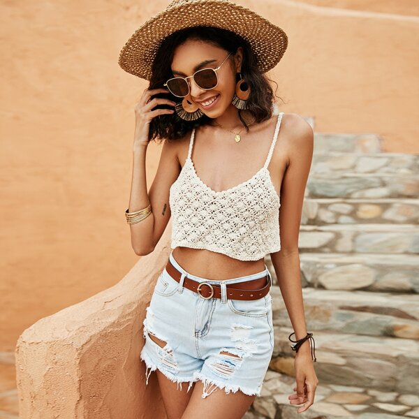 Crochet Cover Up Top, Apricot