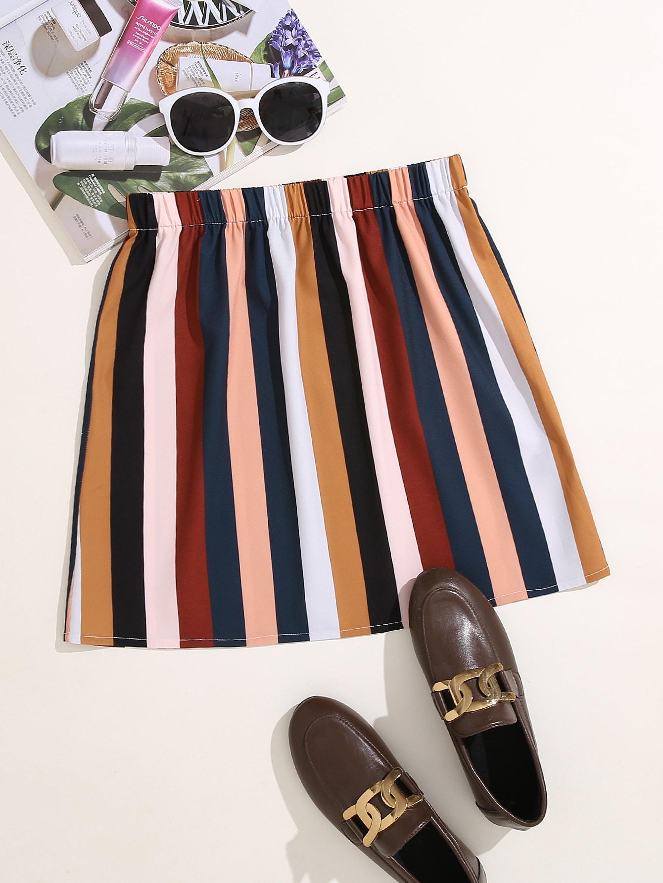 colorblock striped print mini skirt