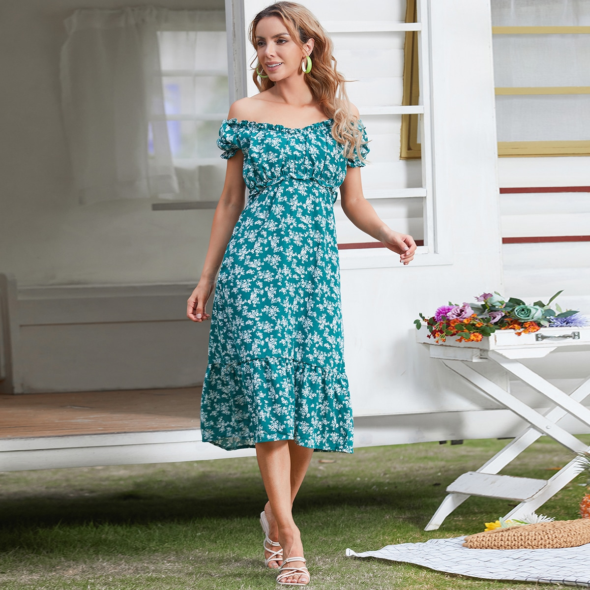 Floral Ruffle Hem Bardot Dress