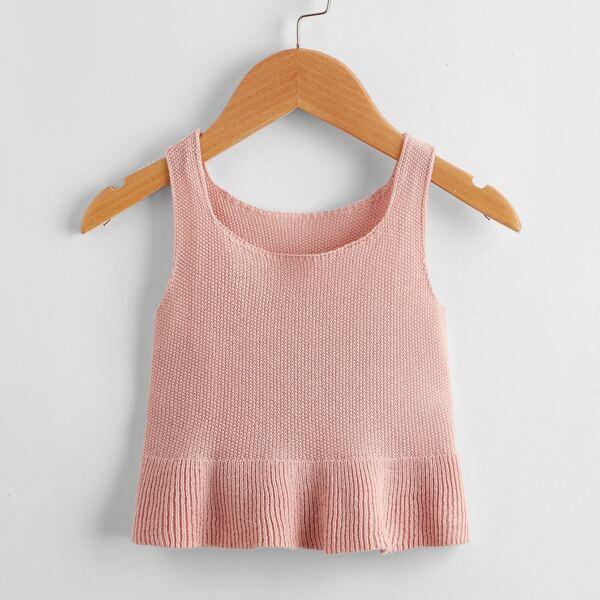 Girls Solid Ruffle Hem Knit Top, Dusty pink