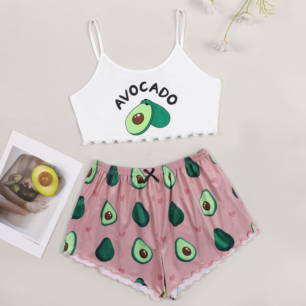 SHEIN / Letter And Fruit Print Cami Pajama Set