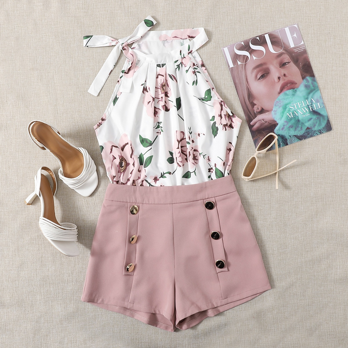 Plus Floral Print Halter Top With Double Breasted Shorts
