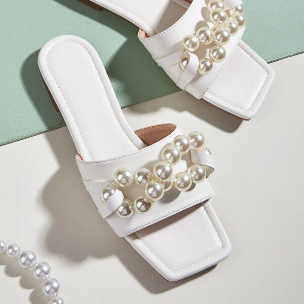 Faux Pearl Decor Slide Sandals, White