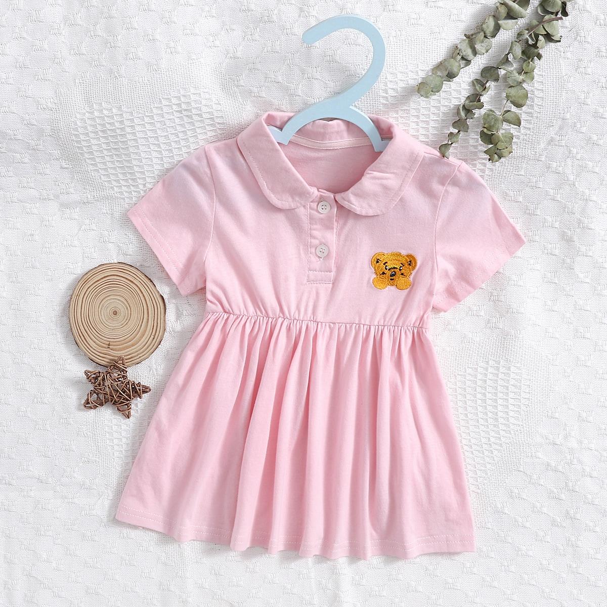 Платье с воротником-поло и мультипликационной вышивкой для девочек от SHEIN