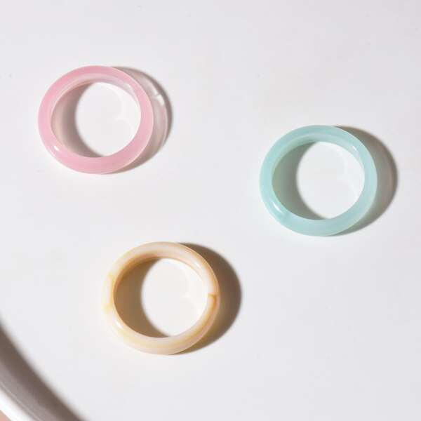 3pcs Simple Round Ring, Multicolor