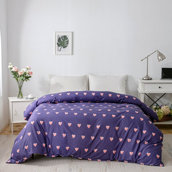 Heart Print Duvet Cover Without Filler, Purple