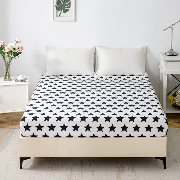 Star Print Fitted Sheet, Black and white