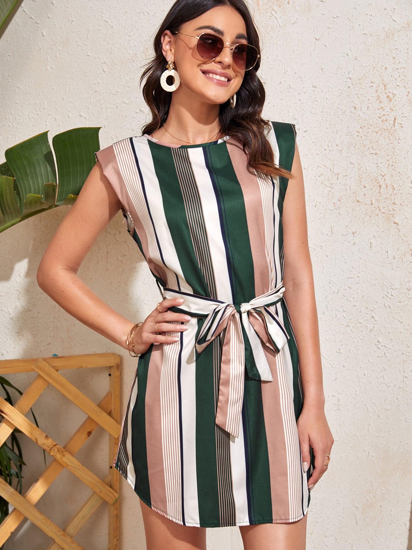 striped shoulder pad belted dress