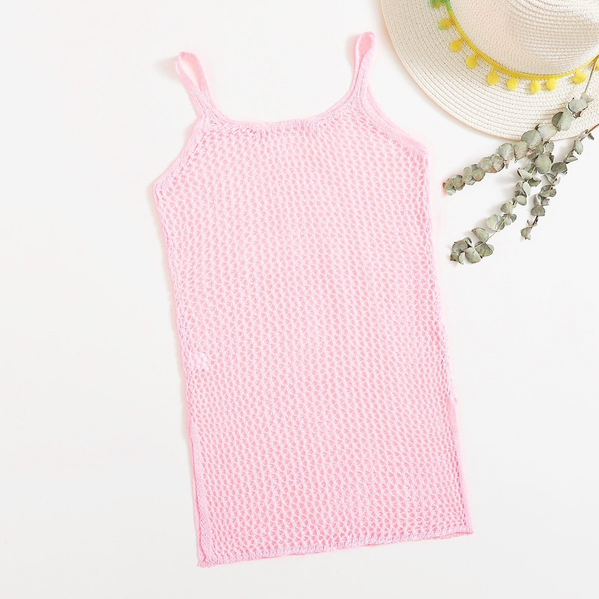 Girls Hollow Out Knitted Split Side Cover Up