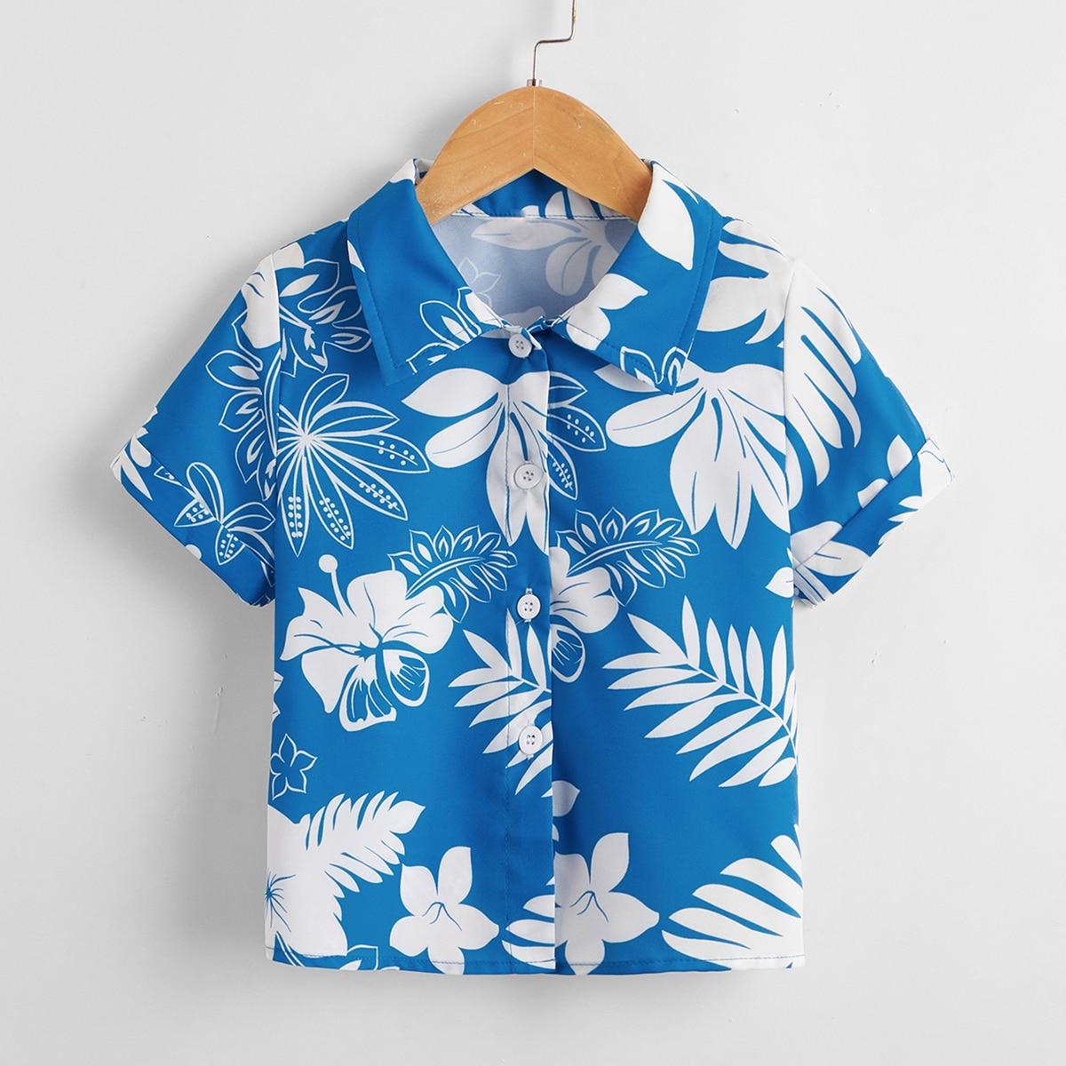 Пуговица Тропический Бохо Рубашки для мальчиков