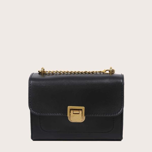 Metal Lock Chain Shoulder Bag, Black