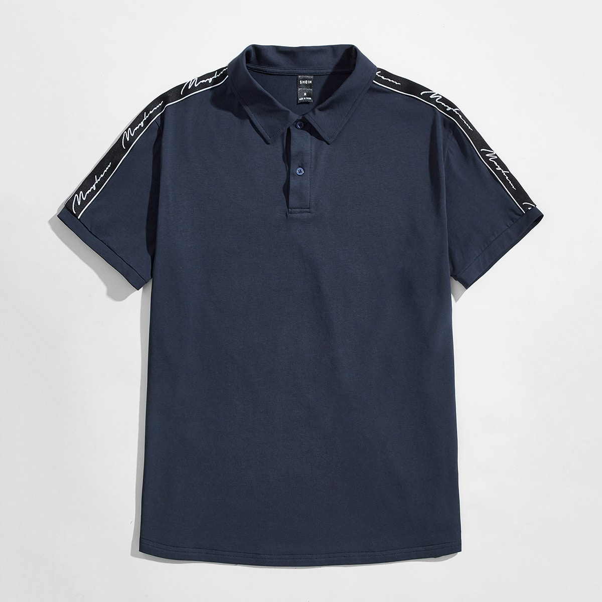Men Letter Taped Polo Shirt, SHEIN  - buy with discount