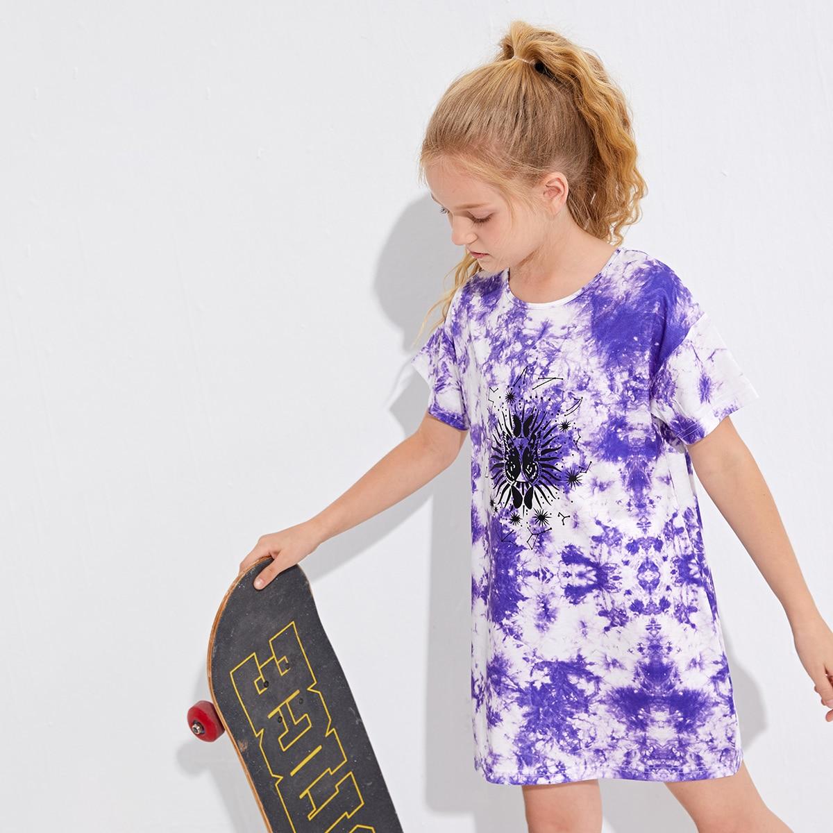 Girls Tie Dye And Butterfly Print Tee Dress