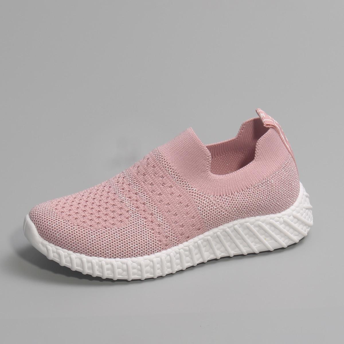 Металлические вязаные кроссовки для девочек от SHEIN