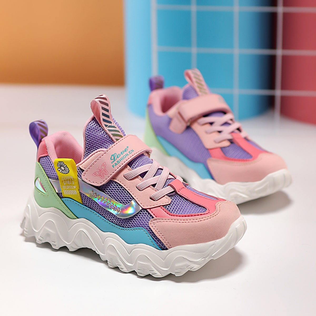 Girls Colorblock Mesh Panel Chunky Sneakers, SHEIN  - buy with discount