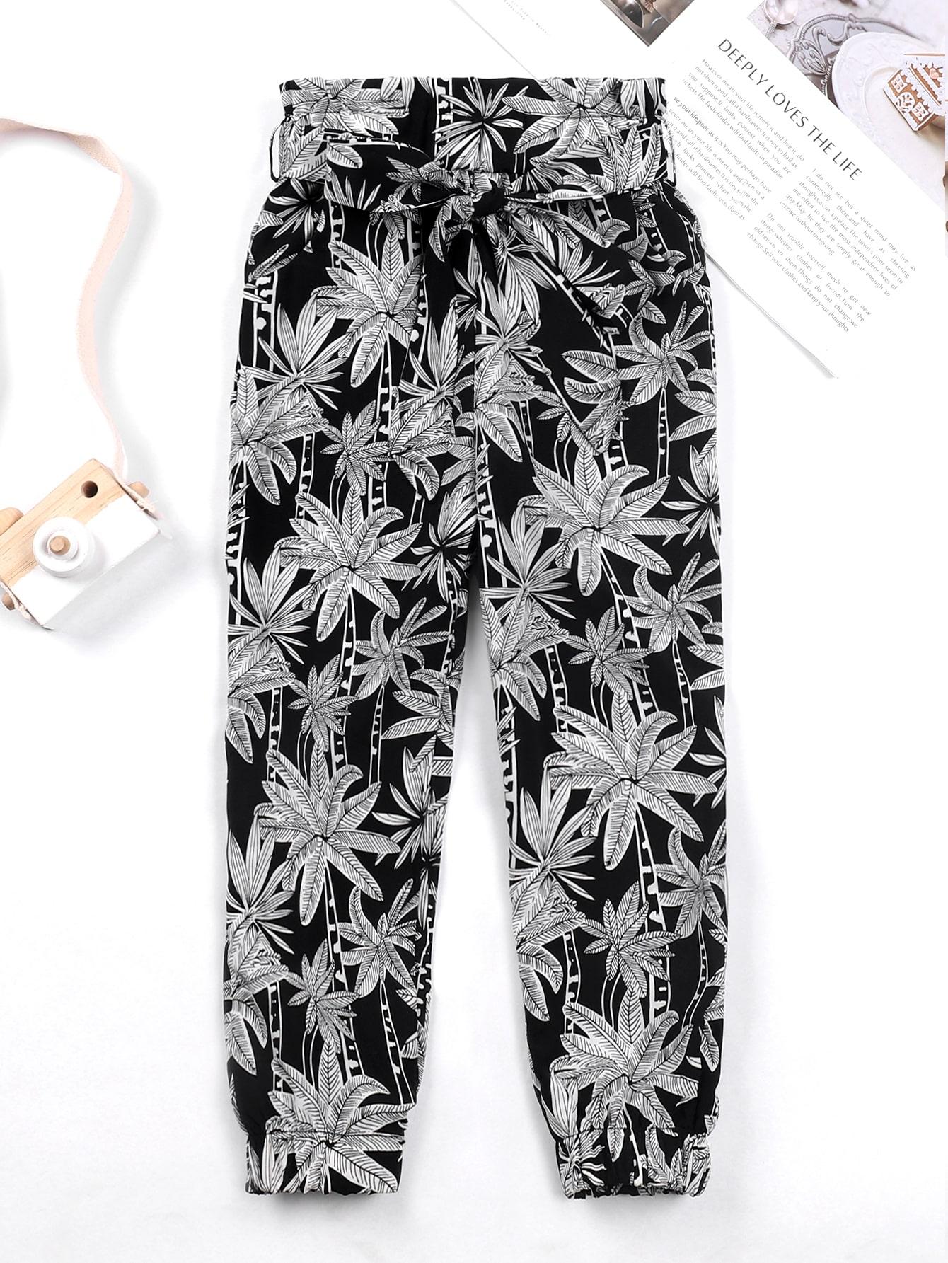 Girls Tropical Print Belted Paper Bag Waist Pants