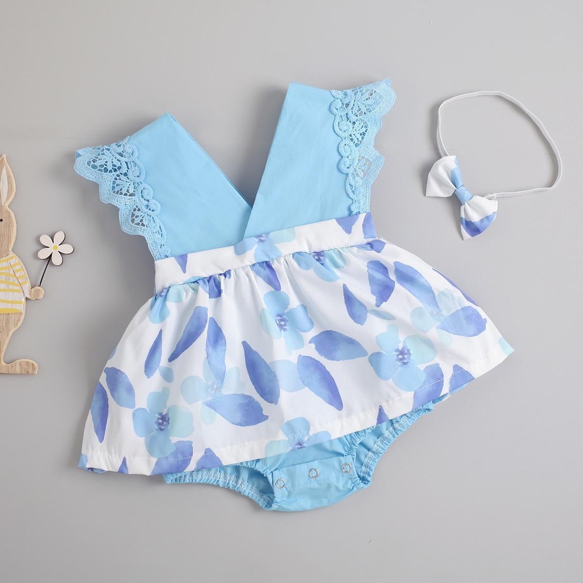 Платье-боди с цветочным принтом и повязка на голову для девочек от SHEIN