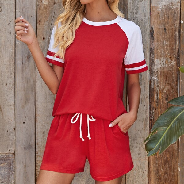 Contrast Raglan Sleeve Tee With Track Shorts, Red