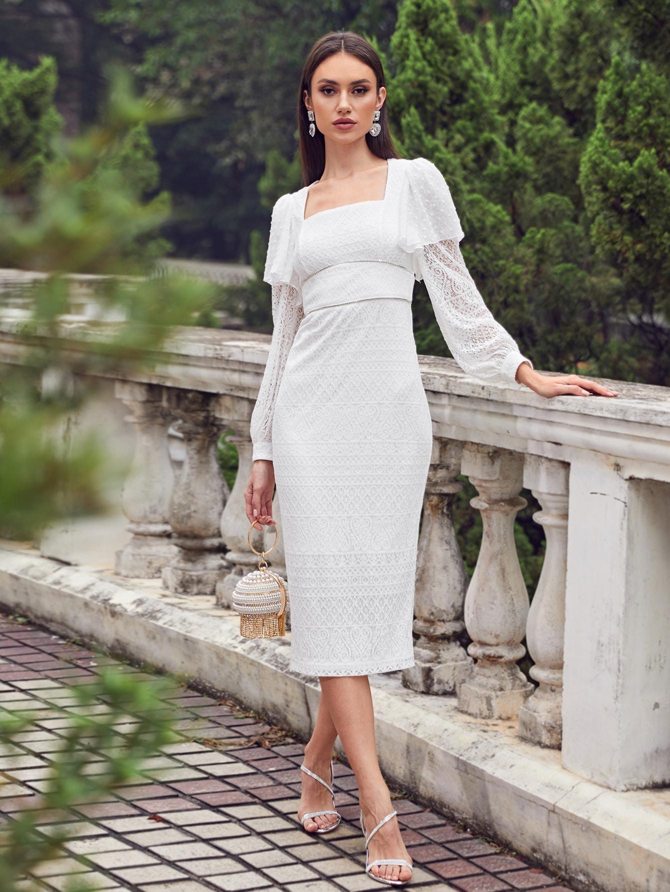 SHEIN Платье со сборкой, оборкой и квадратным воротникомswdress07210331126