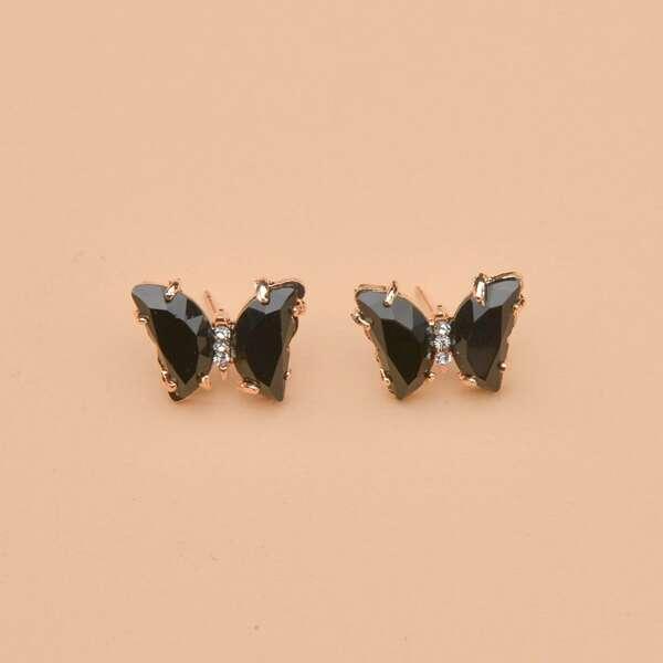 Butterfly Stud Earrings, Black