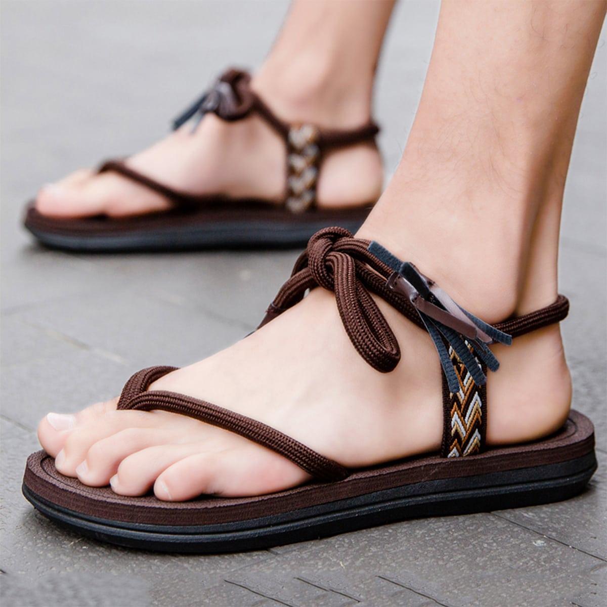 С открытой пяткой Одноцветный Мужские сандалии