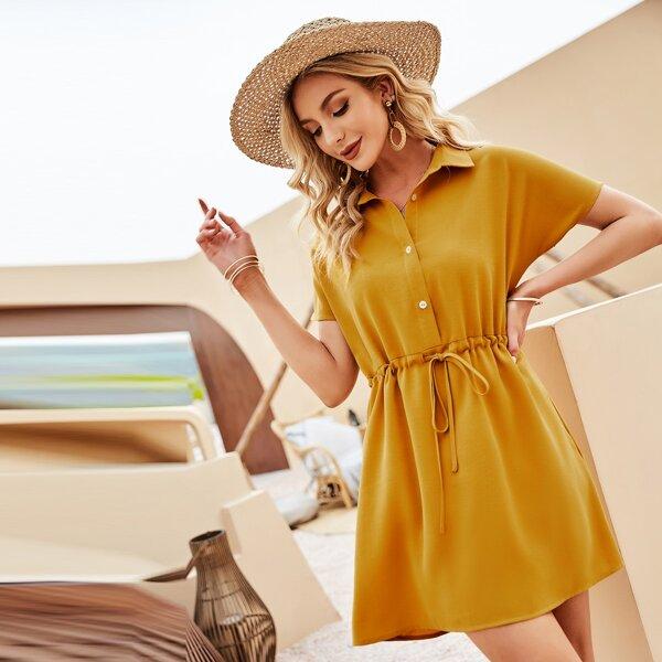 на кулиске Одноцветный Повседневный Платье, Горчично-желтый