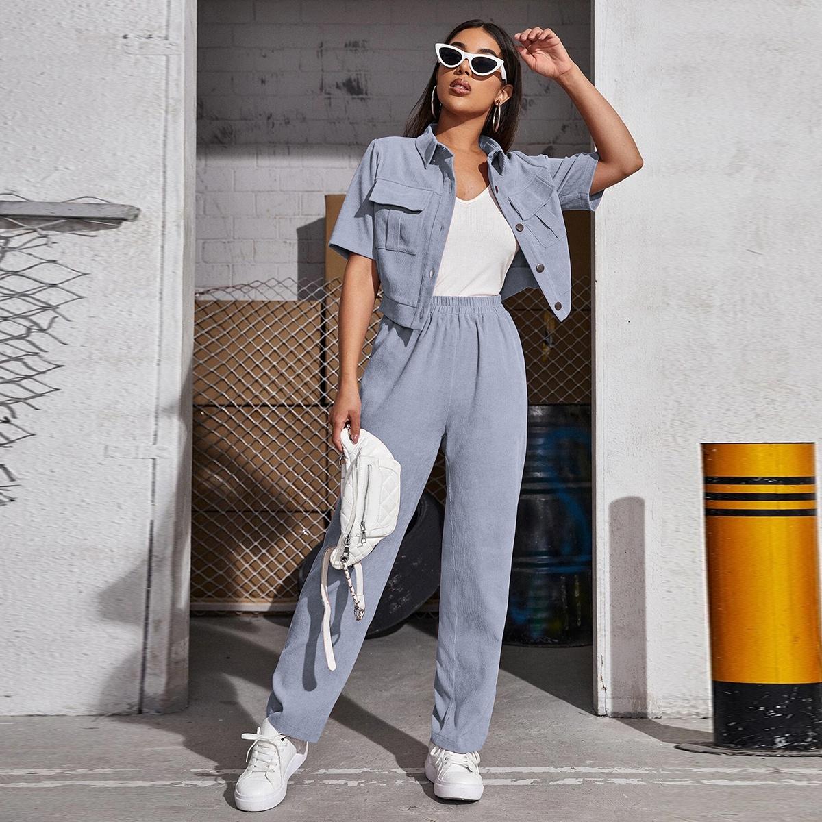 Вельветовая блузка с карманом и брюки SheIn swtwop25210331684