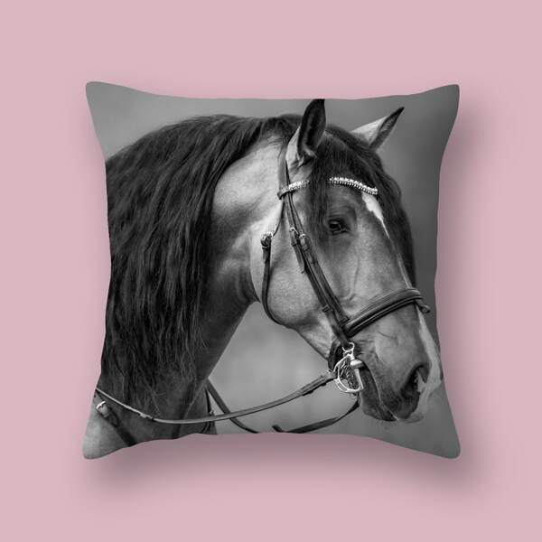 Horse Print Cushion Cover Without Filler, Multicolor