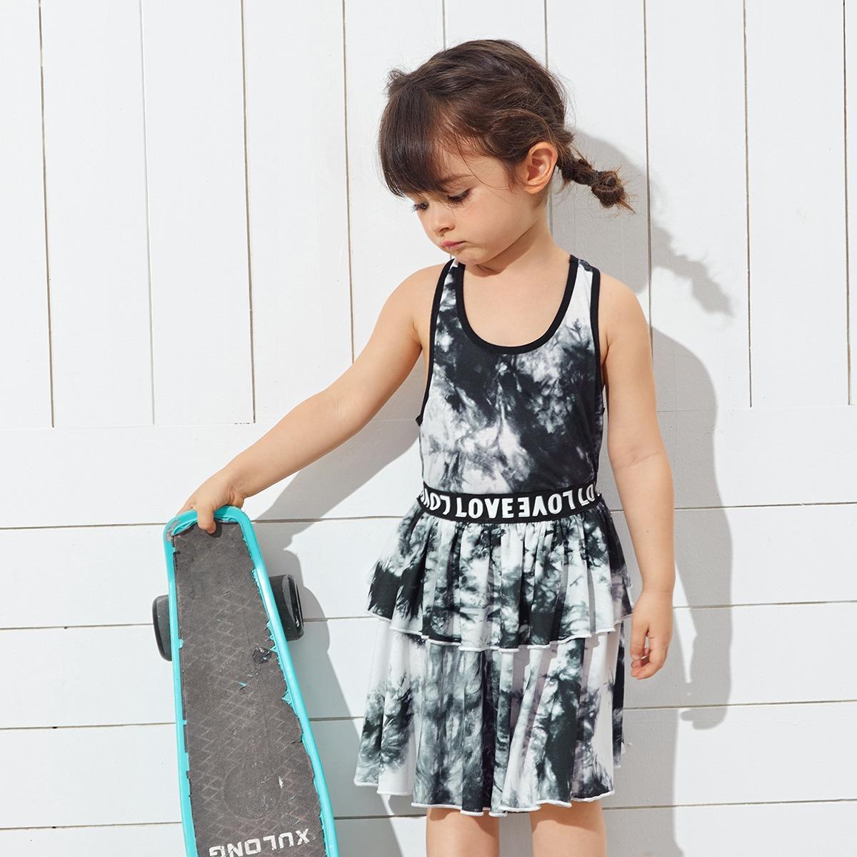 Toddler Girls Tie Dye Tank Top & Letter Waist Layered Skirt Set