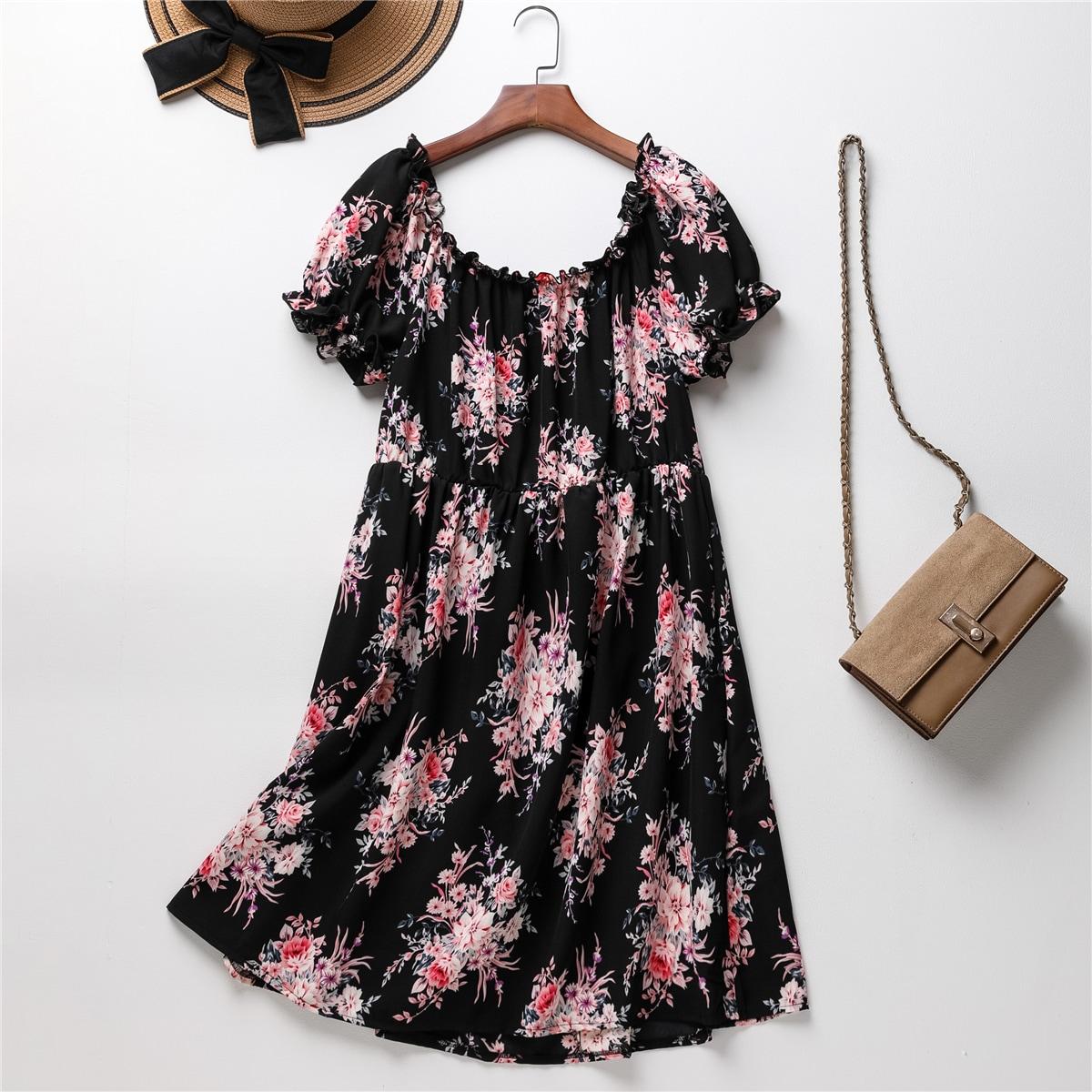 Plus Floral Print Bardot Dress