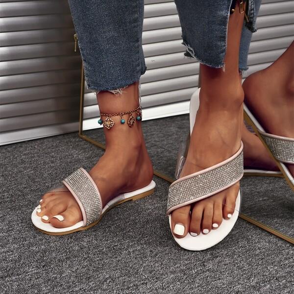 Clear Rhinestone Decor Slide Sandals, Silver