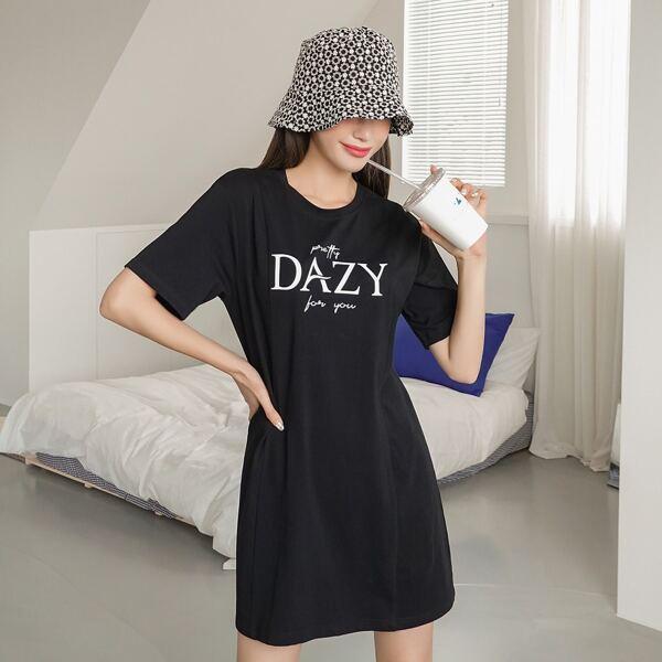 Slogan Graphic Tee Dress, Black