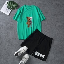 Guys Cartoon Graphic Tee With Athletic Shorts