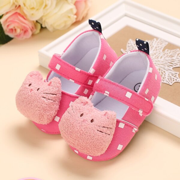 Baby Girl Cartoon Decor Flats, Pink
