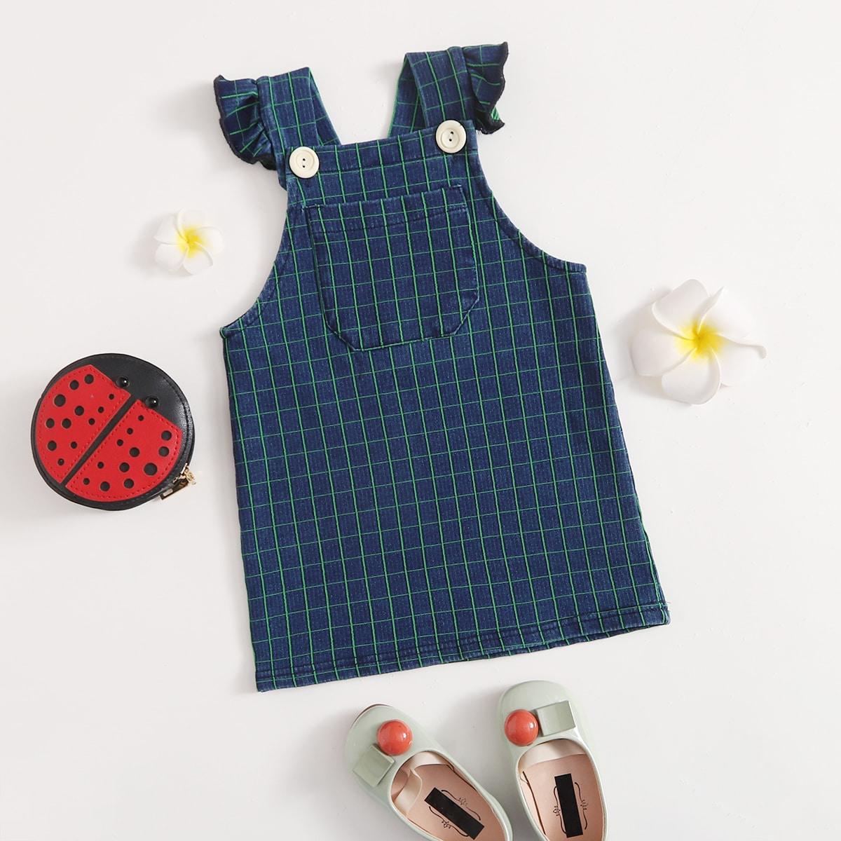 Джинсовое платье с карманом в клетку для девочек от SHEIN