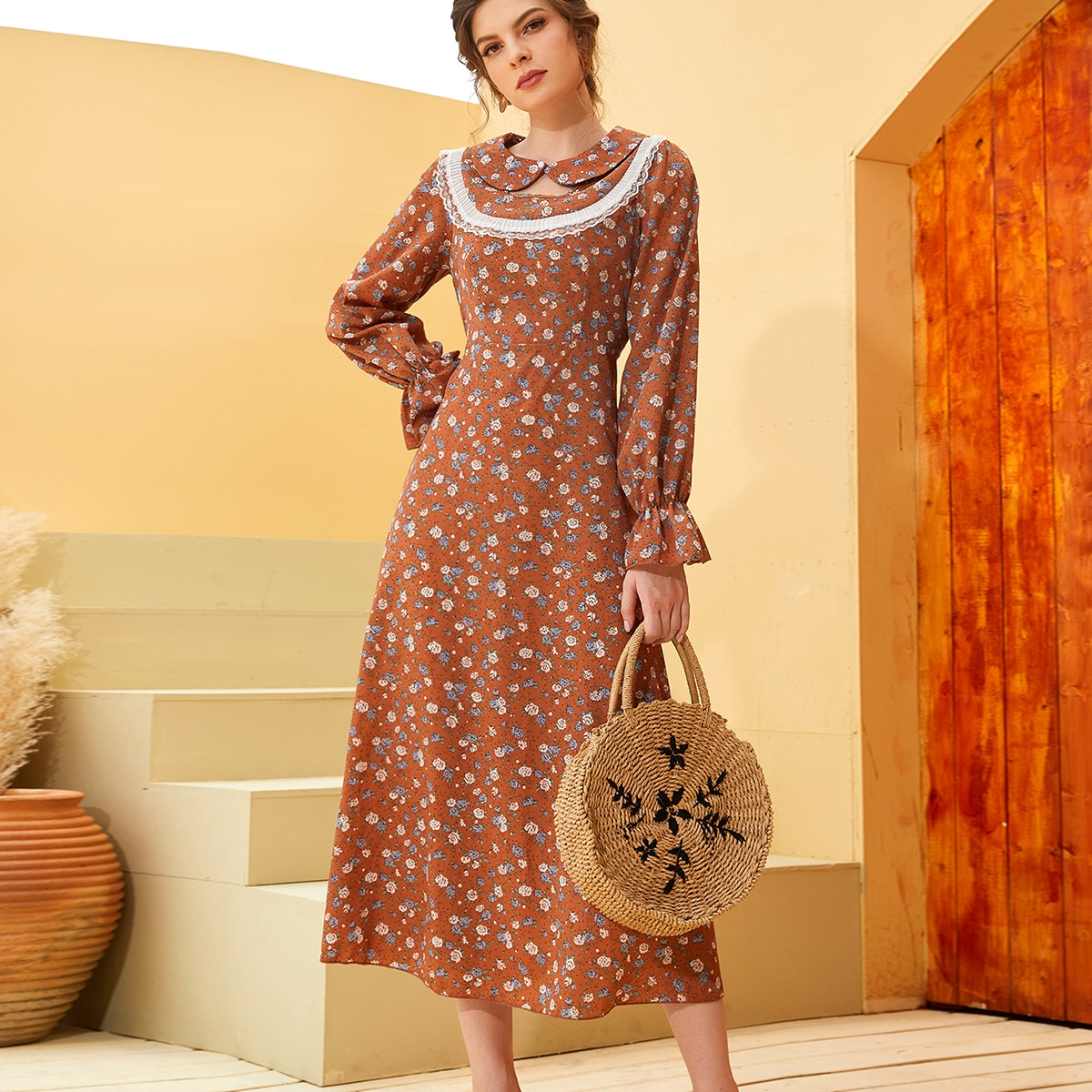 Peter Pan Collar Ditsy Floral Lace Trim Dress