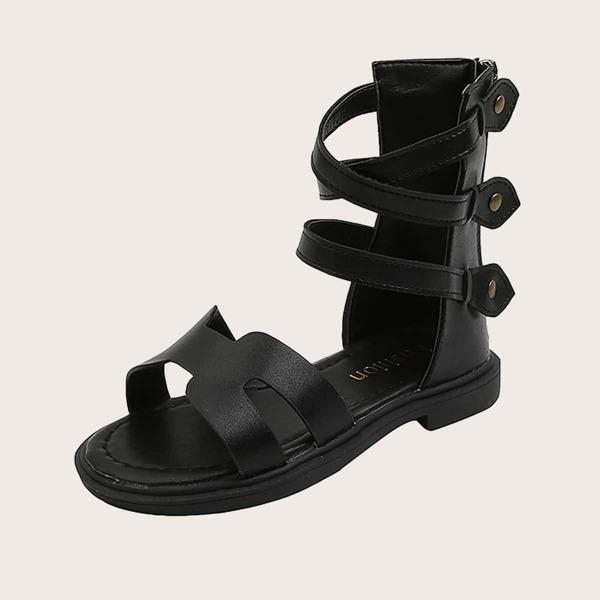 Girls Cut Out Zipper Back Sandals, Black